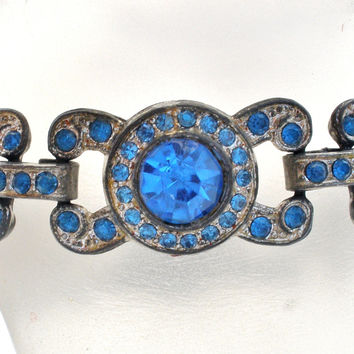 Art Deco Blue Rhinestone Bracelet Pot Metal 7""