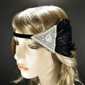 Downtown Abbey Headband Lady Mary Wedding Party 1920's Flapper Great Gatsby Headpiece Black Feather with Silver Pearl Beaded Fascinator