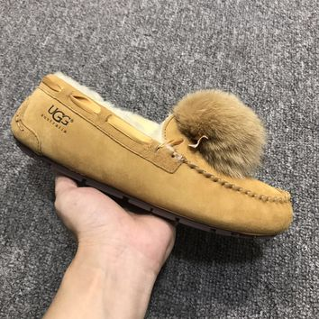 LFMON UGG 1019015 Moccasin Ommino TODS Women Men Fashion Casual Wool Winter Snow Boots Chestnut