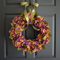 Wreaths - Summer Blended Hydrangea Wreath - Front Door Wreaths - Outdoor Wreaths - Summer Wreath - Housewarming Gift Ideas