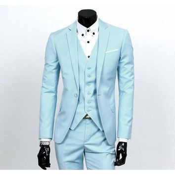 Men's Light Blue One Button Slim Fit Suit - Three Piece