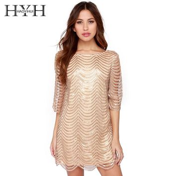 HYH HAOYIHUI Golden Wave Sequin Lace Dress Women Backless Bla Sheer Shift Dresses Cut Out Sequin Mesh Straight Dress Vestidos
