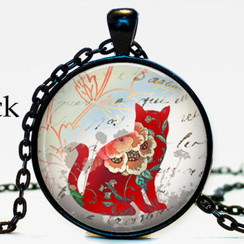 Red Cat Necklace pendant, Handwriting script, cat silhouette, Cat altered art, cat jewelry, your choice of finish, lucky cat, cat charm