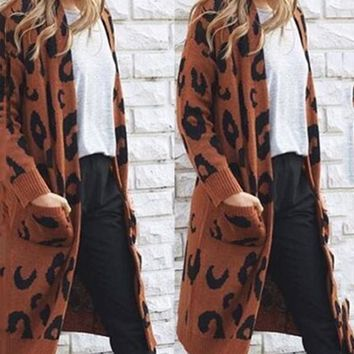 New Coffee Leopard Print No Buttons Pockets Long Sleeve Casual Sweaters Cardigan