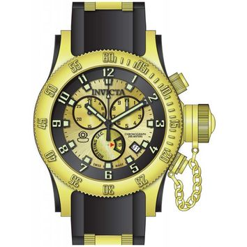 Invicta 15565 Men's Russian Diver Gold Dial Steel & Rubber Strap Chronograph Dive Watch