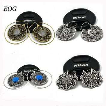 ac PEAPO2Q BOG-Pair Brass Tribal Indian Spiral Mandala Lotus Flower Earrings Hoop  piercing Charming  Ear Tunnel Plug Piercing Body Jewelry