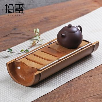 Handmade Bamboo Tea Tray Tea Table Kung Fu Tea Set Teapot Storage Cup Plate Tea Tool Board Kitchen Decorative Accessories Gift