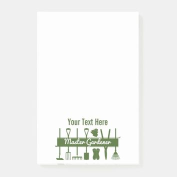 Master Gardener Simple Modern Green Personalized Post-it Notes