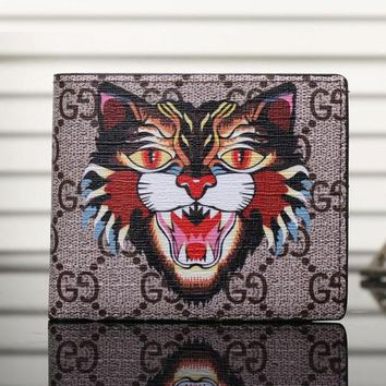 Gucci Man Leather Purse Wallet For Tiger Angry Cat Snake G