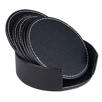 PUSU Set of 6 Drinks Coasters Set with Holder Leather Coaster Cup Mat Pad for Home and Kitchen UseProtect Your FurnitureTable Coasters for Drinks Brown Round