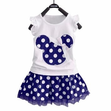 Puseky Vestido Princesa 2 PCS Set Cute Kids Baby Girls Clothes Minions Minnie Party Dress Vest Skirt Toddler Clothes 1-6Y