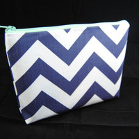 Navy blue chevron with Mint green accent cosmetic case, clutch, gadget bag, makeup or accessory tote