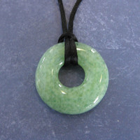Mint Green Necklace, Fused Glass Jewelry, Simple Circle Jewelry - Alicia - 4504-1