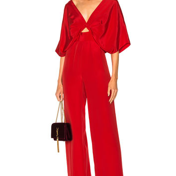 Johanna Ortiz Red Canna Silk Crepe Jumpsuit in Lava Red | FWRD