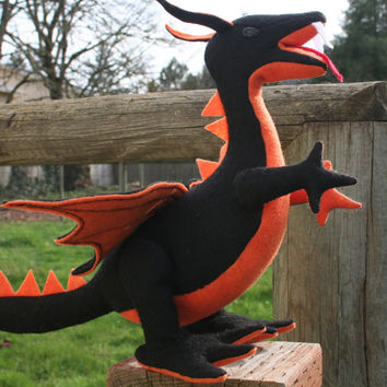 Halloween Colored Fantastical Stuffed Dragon, Black and Orange Plush Dragon, Handcrafted from Eco Fi Felt, Mythical Stuffed Animal Toy