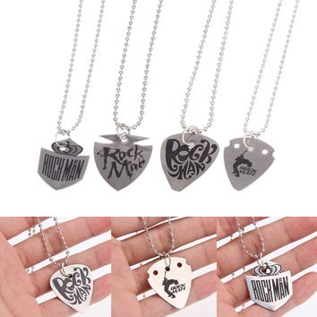 Stainless Steel Guitar Pick Pendant Silver Necklace