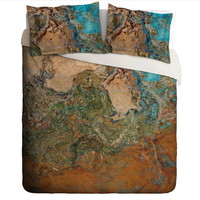 Duvet Cover with abstract art, king or queen in orange, turquoise and copper, southwest bedroom decor, Canyon Sunset