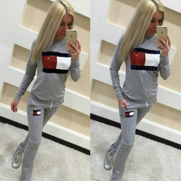 letters printed sweater suit female