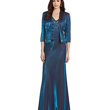 Emma Street 2-Piece Beaded Shimmer Jacket Dress - Teal
