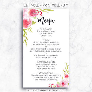 Wedding Menu, Printable Menu, Roses, DIY Menu Template, Menu Card, Menu Printable, Wedding, Custom Menu, DIY Wedding, Wedding Reception,PDF