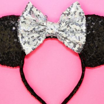 Black Sequin Ears and Silver Bow