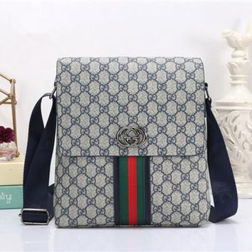 """Gucci"" Men Casual Briefcase Fashion Retro Classic GG Logo Stripe Wide Strap Single Shoulder Messenger Bag"