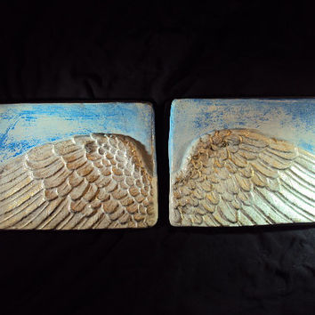 Angel Wings Statuary, Handcrafted By Mountain Art Casting, Angels Watching Over You