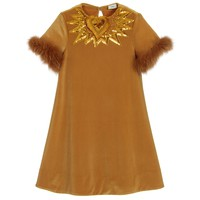 Fendi Girls Gold Velour Dress with Fur Sleeves