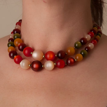 Vintage Coro Moonglow Bead Double Strand Necklace