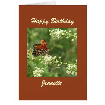 Happy Birthday Greeting Card, Butterfly, Custom Card