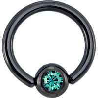 Black Blue Zircon Austrian Crystal Anodized Titanium Ball Captive Ring | Body Candy Body Jewelry
