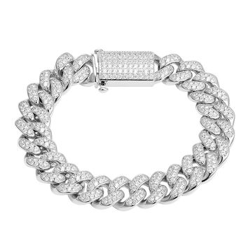 Designer Silver Miami Cuban Iced Out Bracelet 14k White Gold Finish New Iced Out Unique Lock