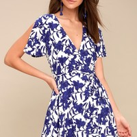 Morning Blooms Blue and White Floral Print Wrap Dress