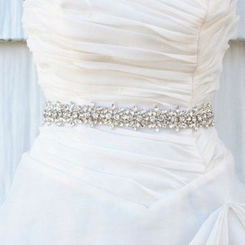 "Bridal Crystal Rhinestone Applique Sash Wedding Waist Belt Vintage sash with satin Ribbon (17.7*1.18"")"