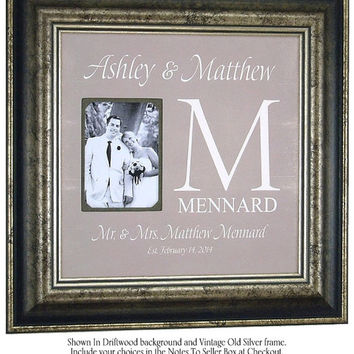 Monogram Wedding Gift, Father of the Bride Photo Frame Parents Thank You Gift Family Name, Wedding Ceremony Decoration, Parents, 16 X 16