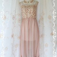Lady And Floral - Maxi Dress Light Beige Nude Lace Strap And Strapless Maxi Dress Sweet Beautiful Gorgeous Long Dress
