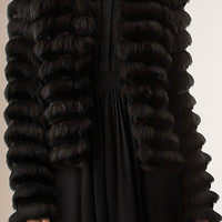 Box Fit Panelled Fur Coat