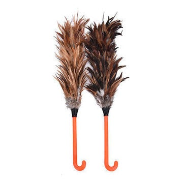 NEW Feather Fur Brush Duster Dust Cleaning Tool Plastic Hooked Handle 45cm HU