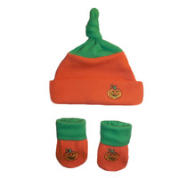 Unisex Baby Little Pumpkin Hat and Booties Set