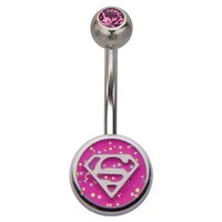 Belly Button Ring Navel 316L Surgical Steel, Cubic Zirconia Superman Body Accentz®