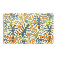 "Julia Grifol ""Summer Tropical Leaves"" Green Orange Aluminum Artistic Magnet"