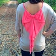 Dolman Top with Bow Back Hot Pink/ Taupe *Made in USA!*