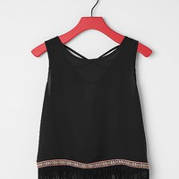 Women's Girls - Fringe Tank Top in Black by Daytrip.