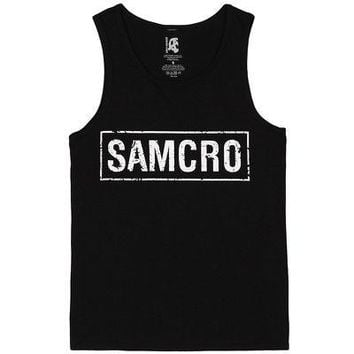 Sons Of Anarchy SOA Samcro Box Logo Licensed Adult Unisex Tank Tops - Black