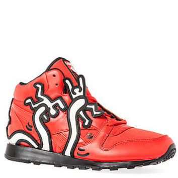 The Reebok x Keith Haring Classic Leather Mid Lux Sneaker in Techy Red, White, & Black