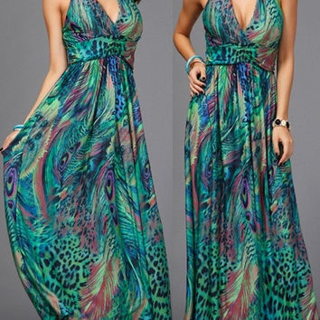 Bohemian Polyester Pleated Maxi Print Womens Dresses