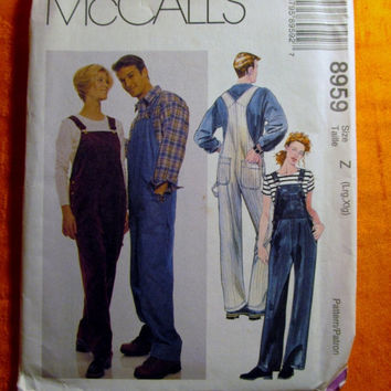 Sale Uncut 1997 McCall's Sewing Pattern, 8959! Large/XL/Women's/Misses/Men's/Overalls/Coveralls/Front Bib Pocket/Strap Opening/Button Closur