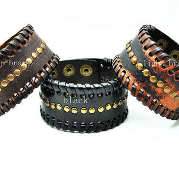 Soft Real Leather and Metal Snapper Buckle Men Leather Wristband Cuff Bracelet ,Unisex bracelet , Women Cuff Bracelet  RZ0310