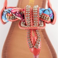 Jeweled and Woven Scarf Thong Sandal - Fuschia at Lucky 21 Lucky 21