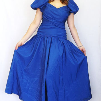 Vintage 80s 90s Royal Blue Princess Ball Gown Prom Dress Bridesmaid Little Bo Beep Southern Belle Tea Dress Maxi Dress Size 7 / 8 Small